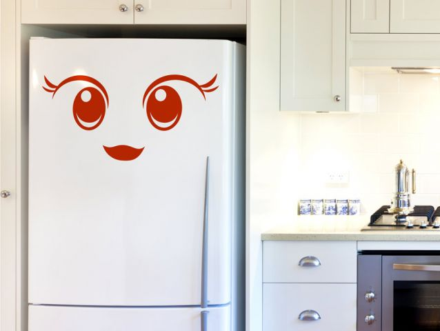 Adorable face Fridge decor sticker