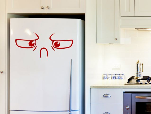 Fridge decor sticker with an angry face