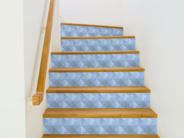 Decor stickers for stairs blue geometric