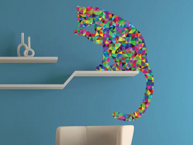 Triangle cat wall sticker