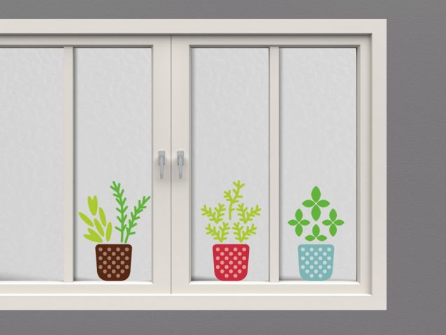 Colorful potted plants decor stickers