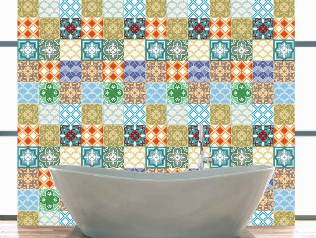 Colorful Moroccan tile wallpaper sticker