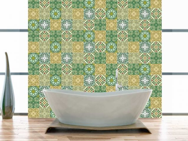 Retro wallpaper sticker for bathroom