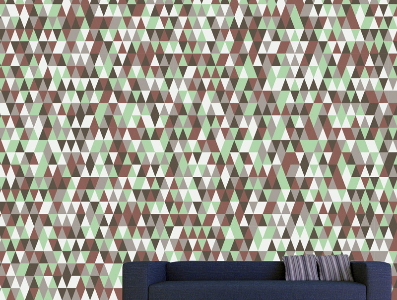 Wallpaper - brown green triangles
