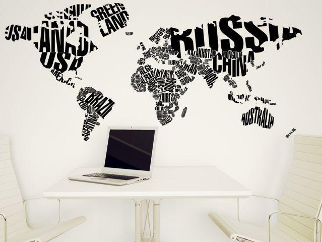 Typographic world map | Wall sticker