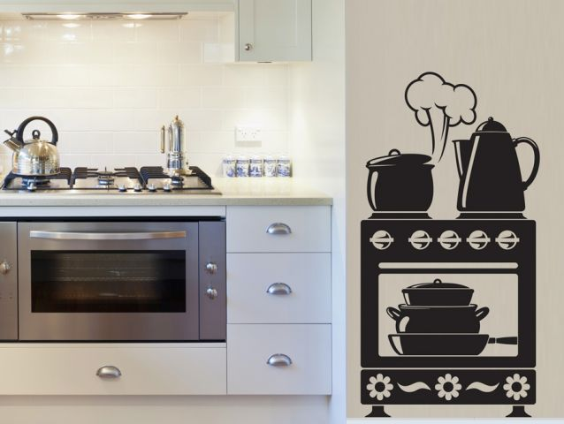 Wall mounted oven sticker