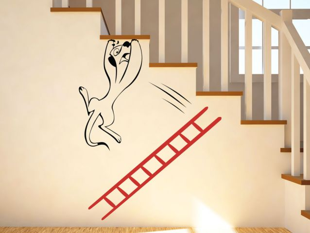 A creature falls from a ladder