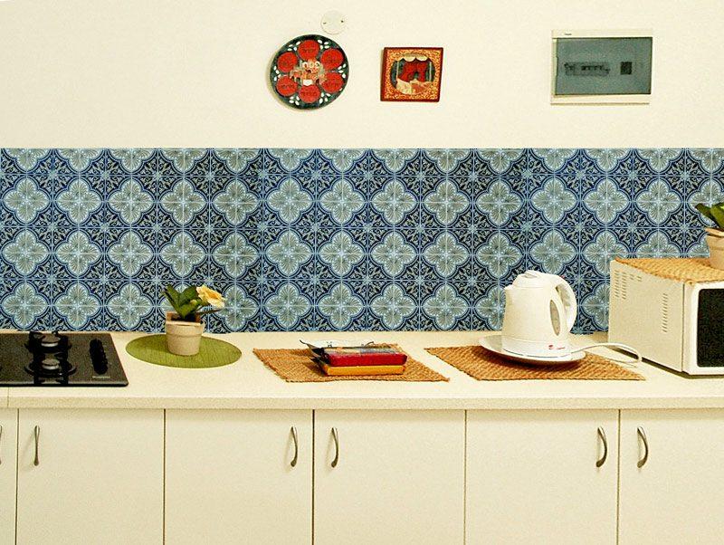 מדבקות קיר למטבח   מדבקות אריחים   אוריינטל טורקיז
