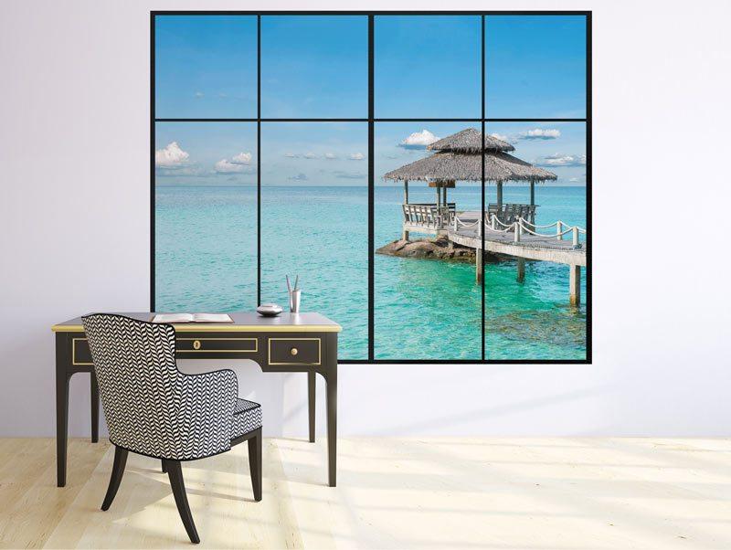 מדבקת קיר תלת מימדית לסלון | מדבקת קיר | חלון לאי בודד