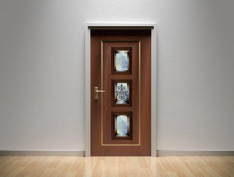 מדבקות קיר   מדבקות לדלת   מדבקת קישוט לדלת   נישת זכוכית כחולה