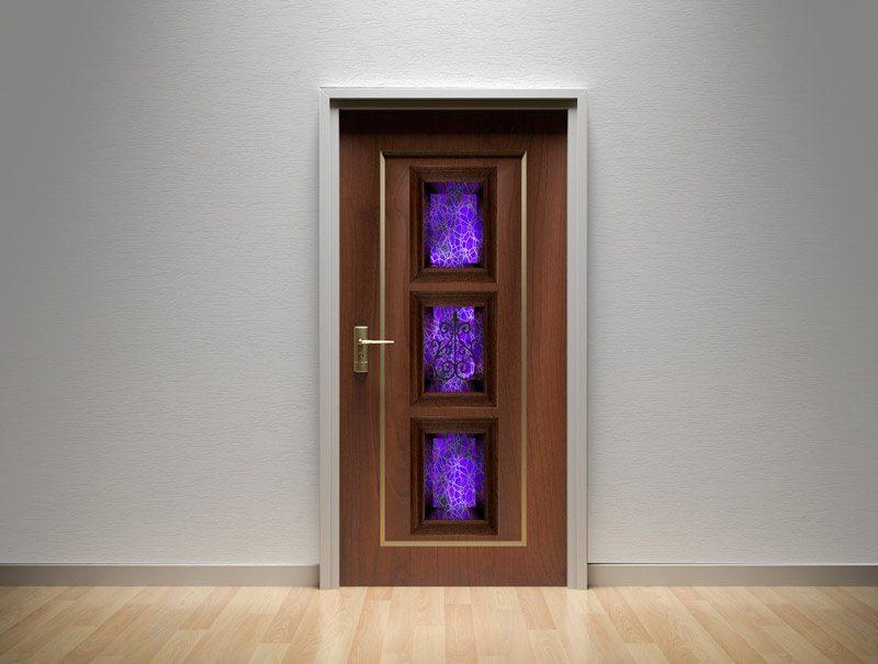 מדבקת קיר   מדבקות לדלת   מדבקת קישוט לדלת   נישת ויטראז' בסגול