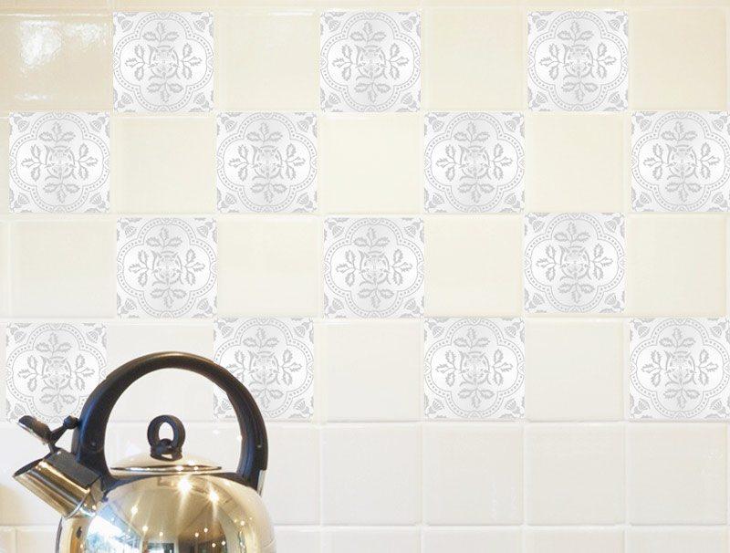 מדבקות קיר למטבח - מדבקות קיר לאריחים בסגנון יווני לבן