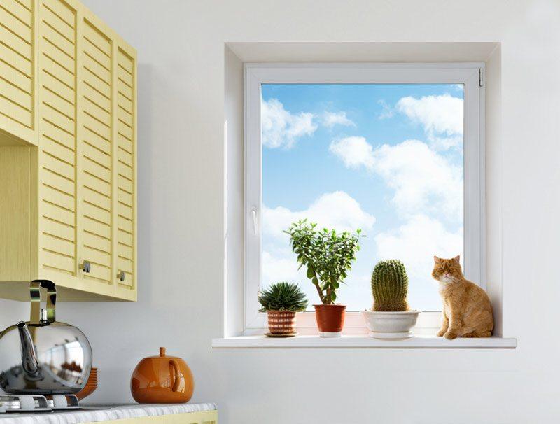 מדבקת קיר | חלון עם שמים כחולים