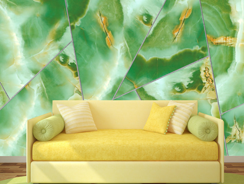 Geometric shapes with green marble
