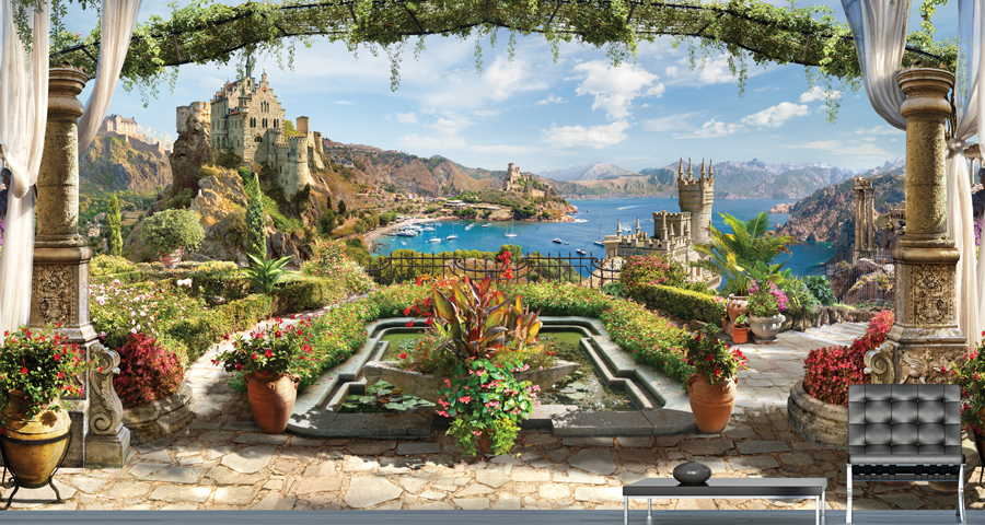 Wallpaper | Beautiful courtyard and sea views