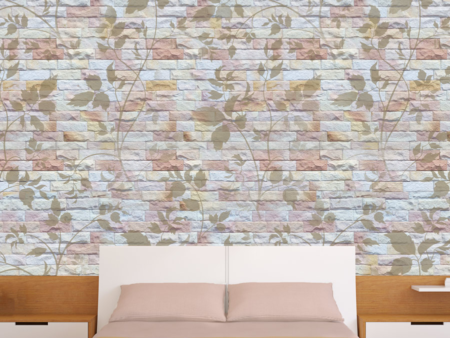 Wallpaper | A brick wall decorated with pink flowers